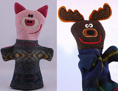 Hand Puppets Created from Recycled Sweaters Great Green Goods