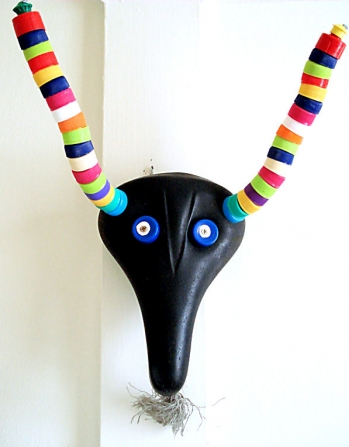 recycled plastics and leather mask