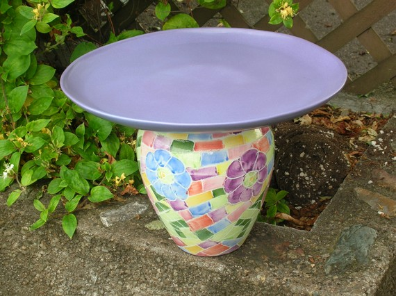 recycled porcelain birdbath